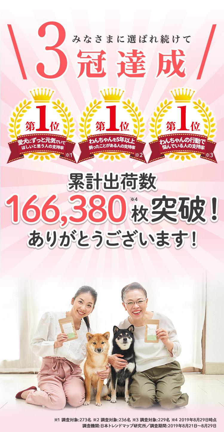 みなさまに選ばれ続けて3冠達成 累計出荷数166,380枚突破!ありがとうございます!